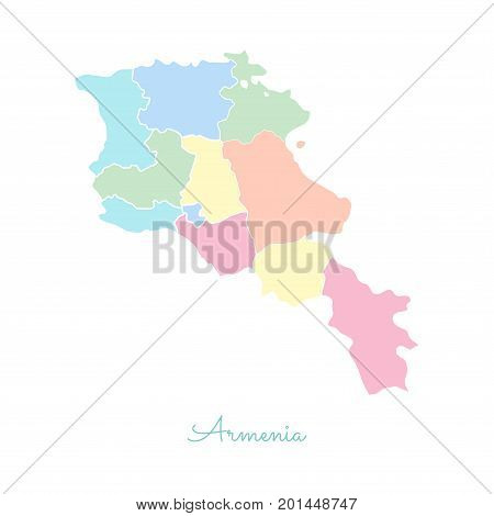 Armenia Region Map: Colorful With White Outline. Detailed Map Of Armenia Regions. Vector Illustratio