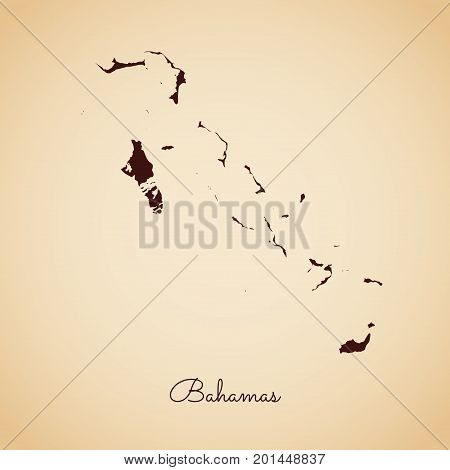 Bahamas Region Map: Retro Style Brown Outline On Old Paper Background. Detailed Map Of Bahamas Regio