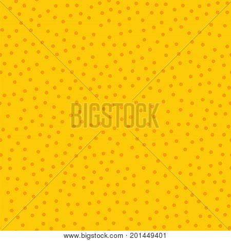 Orange Polka Dots Seamless Pattern On Yellow Background. Astonishing Classic Orange Polka Dots Texti