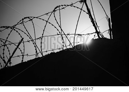 Black and white photo of a wall with barbed wire