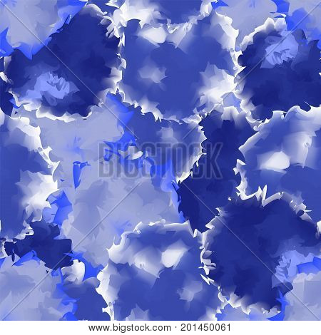 Indigo Seamless Watercolor Texture Background. Interesting Abstract Indigo Seamless Watercolor Textu