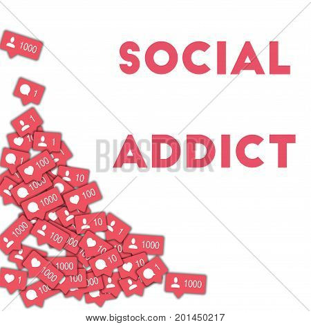 Social Addict. Social Media Icons In Abstract Shape Background With Counter, Comment And Friend Noti