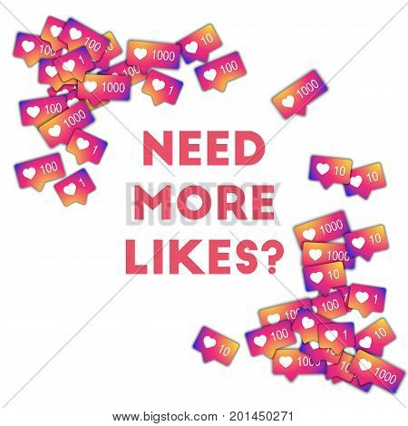 Need More Likes?. Social Media Icons In Abstract Shape Background With Gradient Counter. Need More L