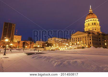 Topeka Kansas - entrance to State Capitol Building. Topeka Kansas USA.