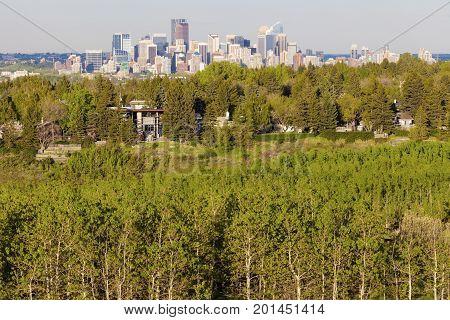 Calgary - panorama of city. Calgary Alberta Canada.