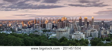 Panorama of Montreal at sunset. Montreal Quebec Canada.