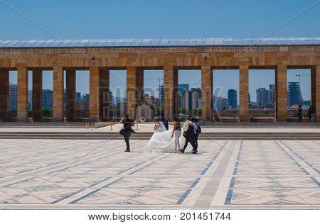AnKARA TURKEY - AUGUST 2 2017: wedding photosession in Ataturk Mausoleum Anitkabir monumental tomb of Mustafa Kemal Ataturk