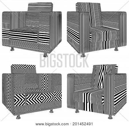 Modern Armchair Stripe Pattern Isolated Illustration Vector