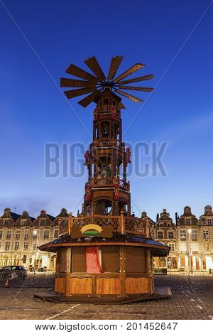 Christmas on Grand Place in Arras. Arras Nord-Pas-de-Calais-Picardy France.