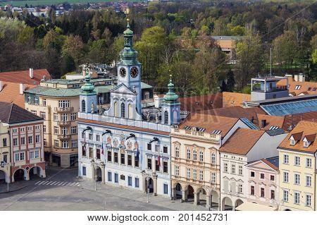 Ceske Budejovice City Hall. Ceske Budejovice South Bohemia Czech Republic.