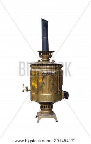 Old metallic copper big samovar with a pipe on a white isolated background