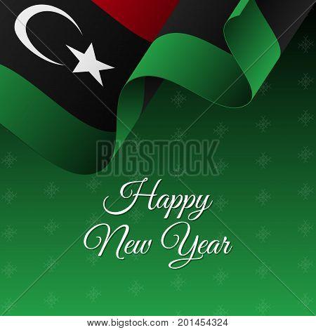Happy New Year banner. Libya waving flag. Snowflakes background. Waving flag. Vector illustration.