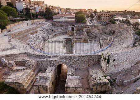 Roman Amphitheatre in Tarragona. Tarragona Catalonia Spain.