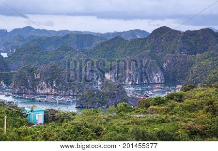 view over the  beautiful limestone rocks of Lan Ha bay from Cat  Ba island, the southern edge of Ha Long bay, Vietnam