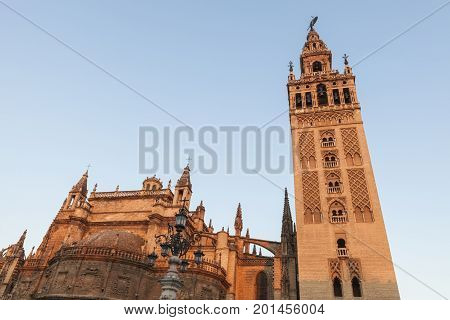 Seville Cathedral (Cathedral of Saint Mary of the See) at sunrise. Seville Andalusia Spain.