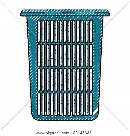 colored crayon silhouette of tall laundry basket without handles vector illustration