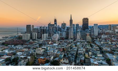 Aerial View Downtown San Francisco