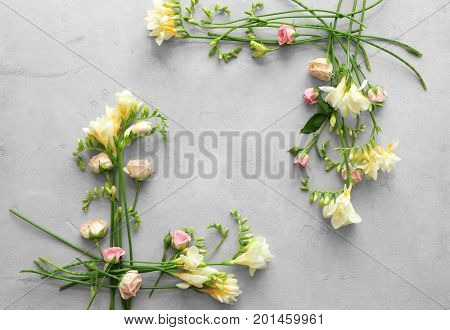 Beautiful composition with fresh freesia on grey background