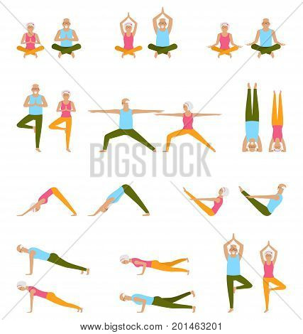 Elderly People Practice Yoga. Set of Asanas. Relax and Meditate. Healthy Pension Lifestyle. Balance Training - Illustration