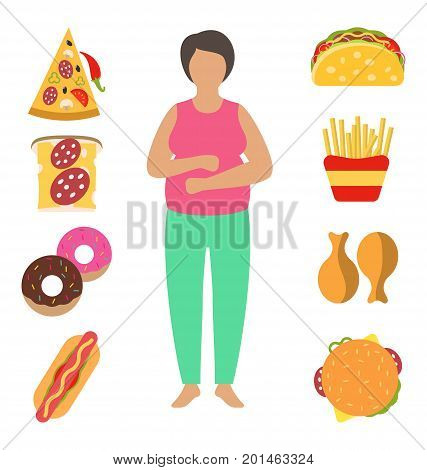 Fat Woman. Problem with Excess Weight Due to Wrong Diet. Fast Food Obesity - Illustration Vector