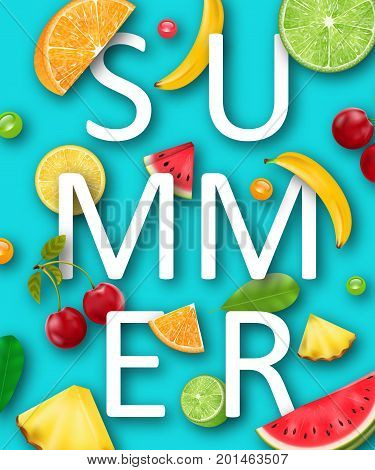 Summer Banner with Pineapple, Watermelon, Banana, Cherry, Orange, Lemon, Lime , Tropical Ripe Fruits and Berries - Illustration Vector