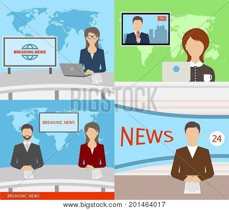 Breaking News TV, Speakers, Reporters, Announcers Anchormans Commentators - Illustration Vector