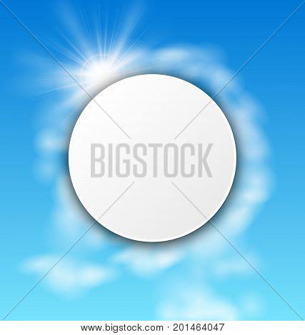 Abstract Summer Card, Sky Cloudy Background, Sunlight, Sun Rays - Illustration Vector