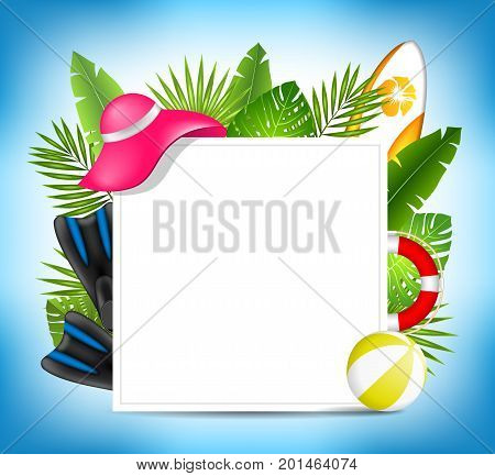 Tropical Summer Design Card Template with Beach Accessories- Illustration Vector
