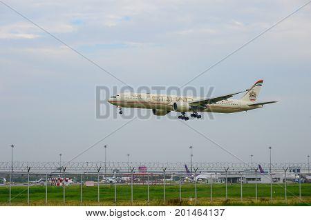 Bangkok Thailand - July 30 2017: Etihad Plane landing to runways at suvarnabhumi international airport in Bangkok Thailand. This airport is one of the most populated airports in the world.