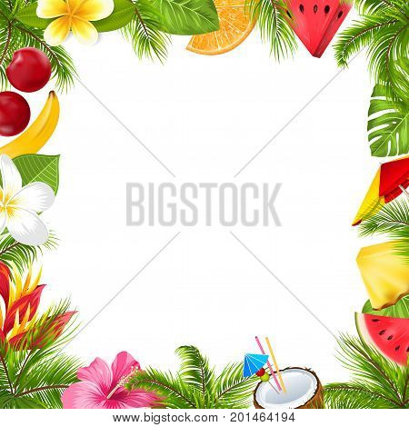 Summer Fruits Poster with Hibiscus, Frangipani Flowers, Watermelon, Pineapple, Banana, Palm Leaves, Coconut Cocktail, Orange- Illustration Vector