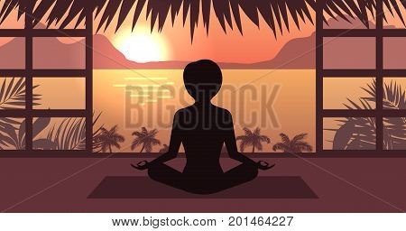 Woman Meditating in Pose Lotus, Sunrise or Sunset, Sea, Mountain and Palm Trees, Home Interior - Illustration