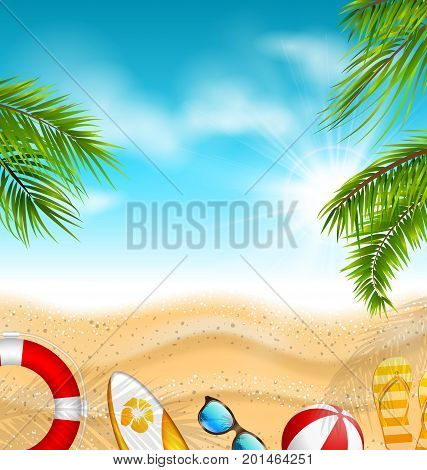 Beautiful Banner with Palm Leaves, Beach Ball, Flip-flops, Surf Board, Sunglasses, Sand Texture, Sea. Summer, Travel Journey - Illustration Vector