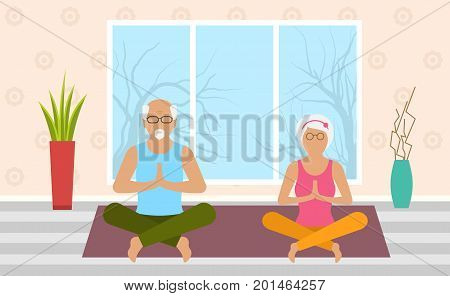 Adult Woman and Man Meditating in Pose Lotus, Home Interior. Leisure of Pensioners - Vector
