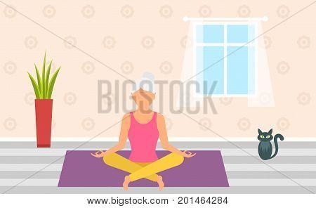 Adult Woman Meditating in Pose Lotus, Home Interior. Leisure of Pensioner - Illustration