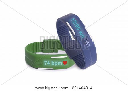 Simple blue and green smart watch show time and health information on white background.