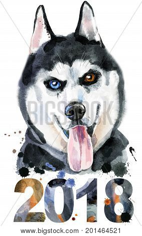 Cute Dog. Dog T-shirt graphics. watercolor husky. Symbol of the year 2018