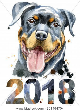 Cute Dog. Dog T-shirt graphics. watercolor rottweiler. Symbol of the year 2018