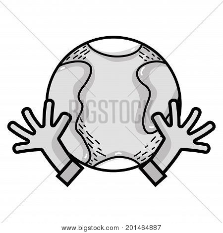 line earth planet with hands and peace symbol vector illustration