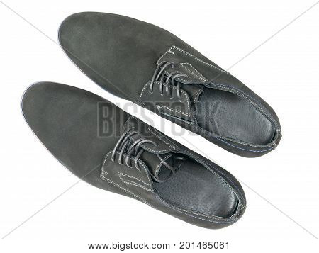 Classic men's shoes made of genuine leather isolated on a white background. Top view on isolated shoes.