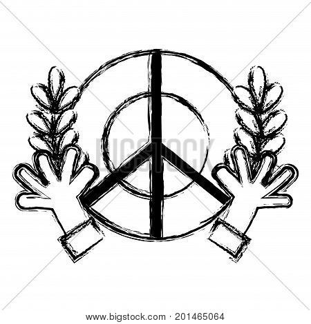 figure hippie emblem with hands and branches design vector illustration