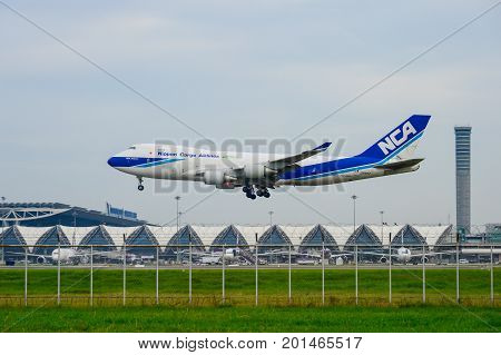 Bangkok Thailand - July 30 2017: Nippon Cargo Airlines Plane landing to runways at Suvarnabhumi international airport in Bangkok Thailand. This airport is one of the most populated airports in the world.