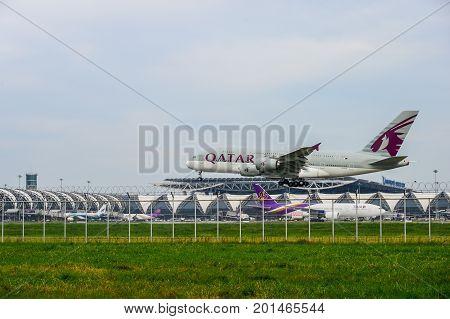 Bangkok Thailand - July 30 2017: Qatar airplane landing to runways at Suvarnabhumi international airport in Bangkok Thailand. This airport is one of the most populated airports in the world.