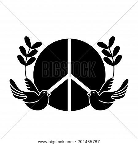 contour hippie emblem with doves and branches design vector illustration