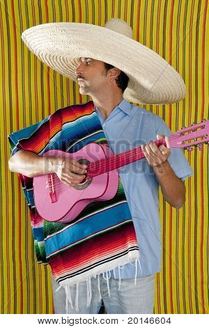 Mexican man serape poncho sombrero playing guitar typical Mexico poster