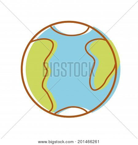 global earth planet with geography map vector illustration