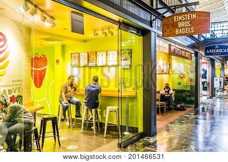 Washington Dc, Usa - July 1, 2017: Inside Union Station In Capital City With Shopping Mall Food Cour