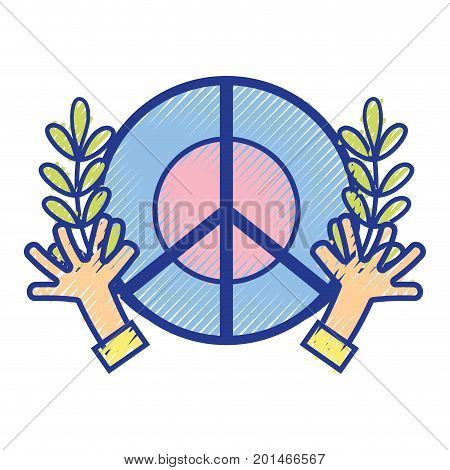 hippie emblem with hands and branches design vector illustration