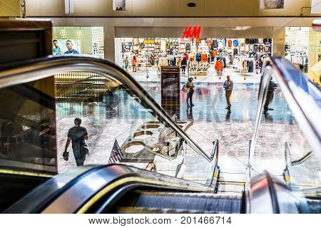 Washington Dc, Usa - July 1, 2017: Inside Union Station In Capital City With Shopping Mall And H And