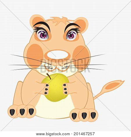 Cartoon animal hamster with apple in paw