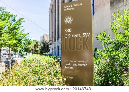 Washington Dc, Usa - July 3, 2017: Sign For Department Of Health And Human Services In Downtown